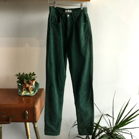 S - Vintage 1980's Forest Green High Waisted Guess Jeans