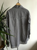 L - Vintage Black and White Gingham Long Sleeve Pearl Snap Western Shirt