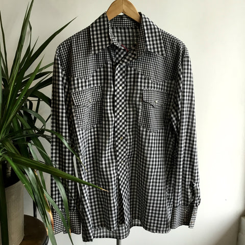 7728c91b6208f L - Vintage Black and White Gingham Long Sleeve Pearl Snap Western Shirt