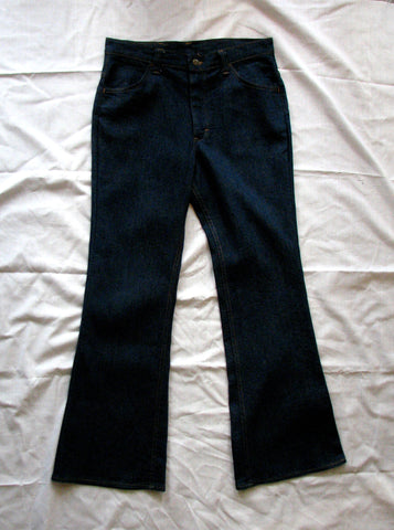 L - Vintage 1970's Lee Dark Blue Bell Bottom Jeans