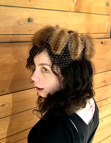 Vintage 1950's Mink Hat with Beige Netting