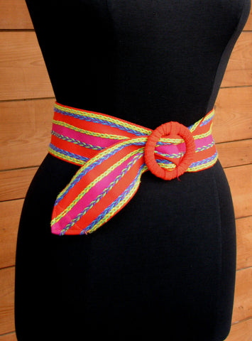 S/M - Vintage Multi Color Wide Ribbon Belt with Embroidery