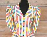 S - Vintage 1980's Multi Color Mini Dress with Mutton Sleeves