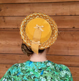 Vintage 1940's Mustard Yellow Velvet and Straw Hat