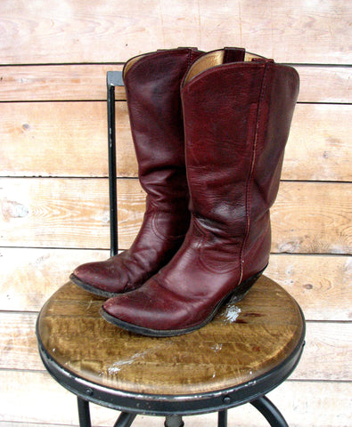 6/7 - Vintage Double Eagle Oxblood Ladies Western Cowboy Boots