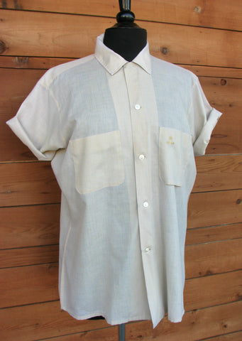 M - Vintage 1950's Pale Cream Arrow Brand Short Sleeve Button Down