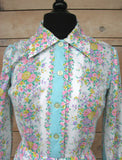 S - Vintage 1960's Pastel Floral David Crystal Dress
