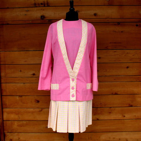 M - Vintage 1960's Pink and Plaid Dress and Jacket