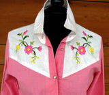 M - Vintage 1970's Pink and White Embroidered Western Button Down