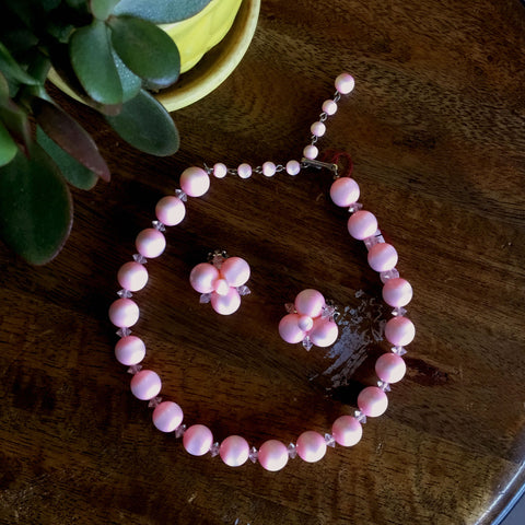 Vintage 1960's Pink Necklace and Clip-On Earrings Set