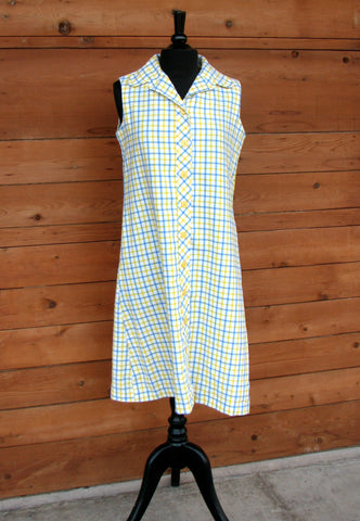L - Vintage 1960's Yellow and Blue Plaid Shift Dress