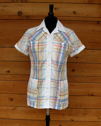 M - Vintage 1960's Pastel Plaid House Shirt