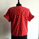 S/M - Vintage 1980's 100% Cotton Red and Black Top
