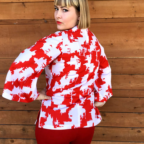 vintage 70s red and white bell sleeve top