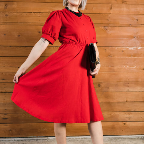 M - Vintage 1970's Red Day Dress
