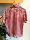 vintage 1970's red gingham short sleeved men's shirt, rear view
