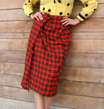 L - Vintage 1980's Red Plaid Wraparound Pencil Skirt