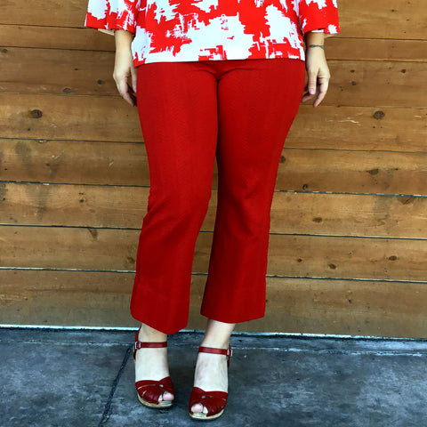 L - Vintage 1960's High Waist Red Embossed Polyester Pants