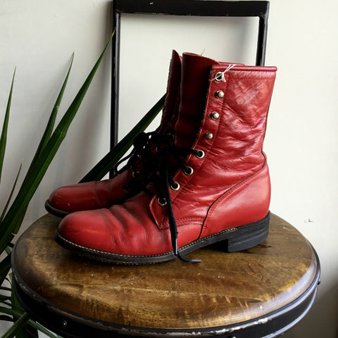 5 - Vintage Red Leather Justin Ropers