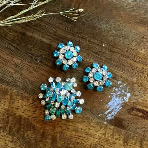 Vintage 1960's Aquamarine and Clear Rhinestone Brooch and Clip Ons