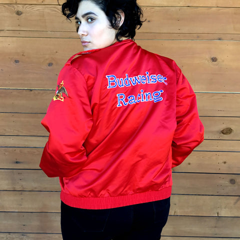 L - Vintage 1980's Red Satin Budweiser Racing Jacket