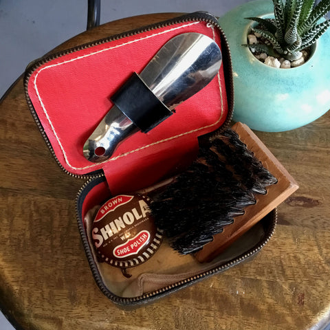 Vintage Shoe Polish (Brown) Kit