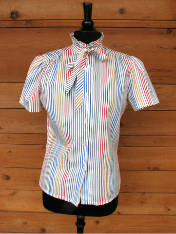 M - Vintage 1970's Laura Mae Multi Color Striped Secretary Blouse