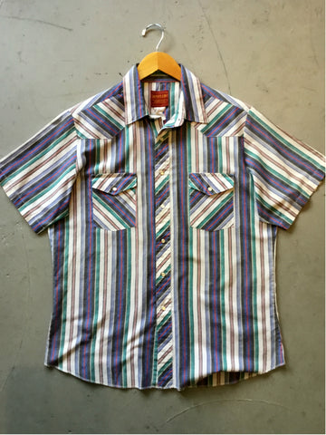 vintage 1980's striped short sleeve pearl snap