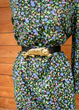 L - Vintage 1960's Dark Floral Long Sleeved Shift Dress