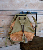 Vintage Tooled Brown Leather Tote