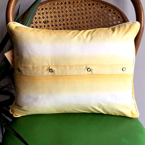 Upcycled Vintage Fabric Throw Pillow - Yellow Ombre Pearl Snap