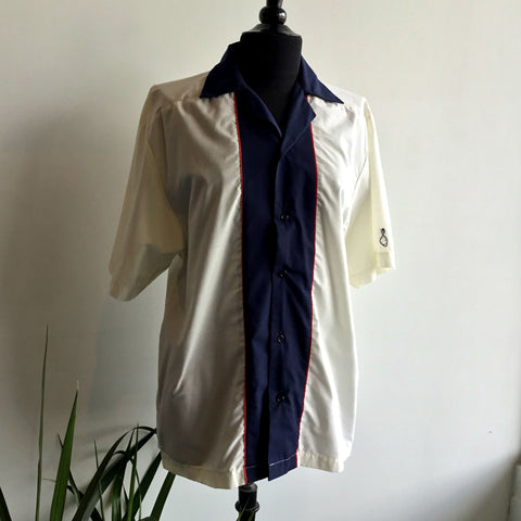 M - Vintage 1960's White and Blue Bowling Shirt