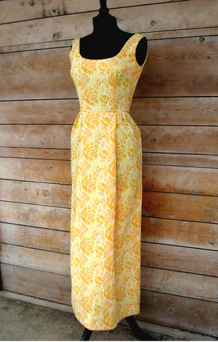 S - Vintage 1960's Yellow Brocade Two Piece Formal Dress
