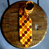 Vintage 1970's 100% Silk Yellow Polka Dot Tie