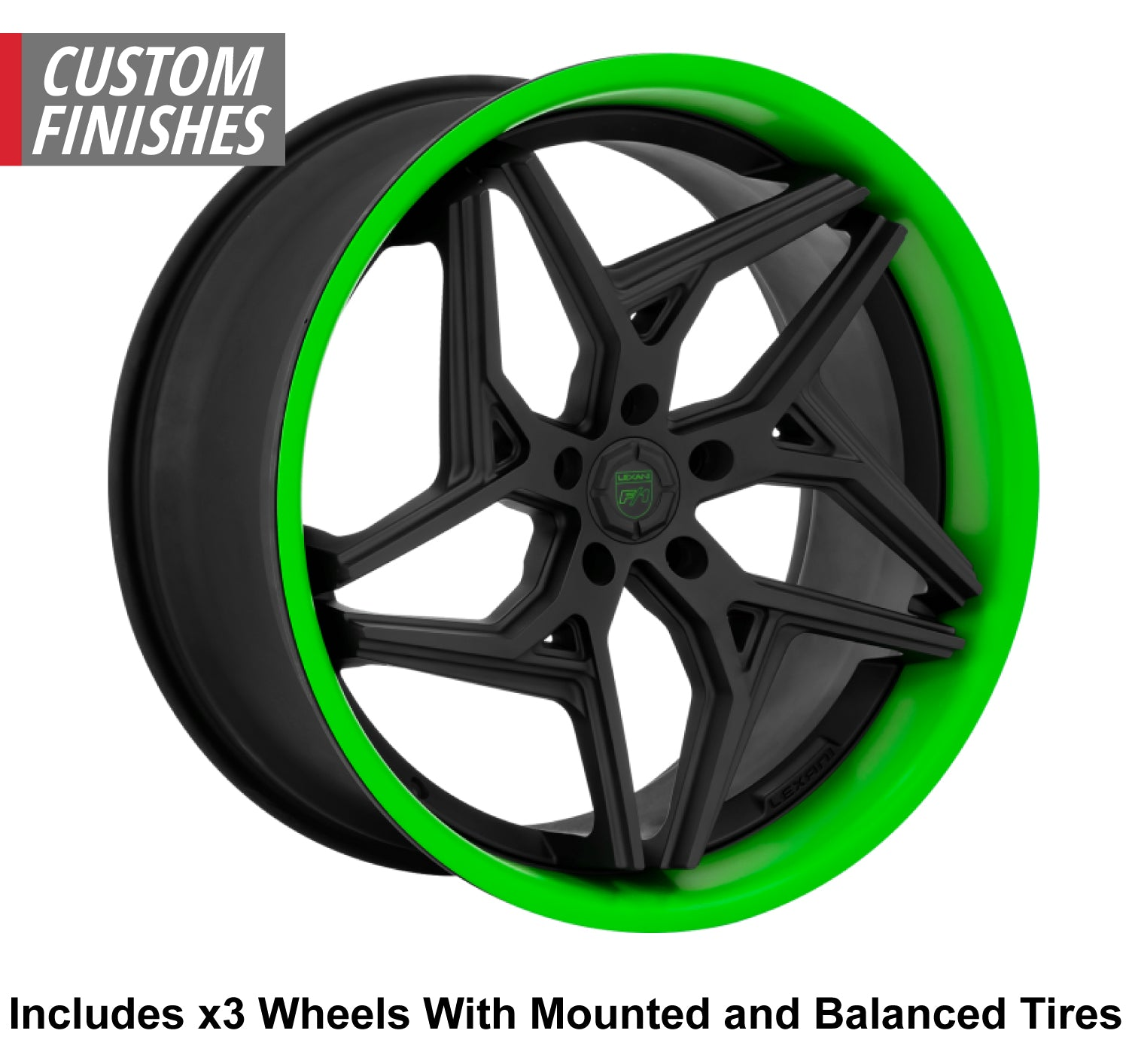 "Lexani Spyder Slingshot 20"" Front 22"" Rear Wheel and Tire Package - Rev Dynamics"