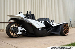 Polaris Slingshot lowered with air ride suspension by Rev Dynamics