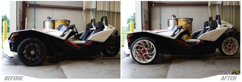 Polaris Slingshot Before With Stock Wheels vs with Aftermarket Lexani Rims