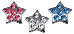 "3/8"" Bling Star Sliding Charms 10mm"