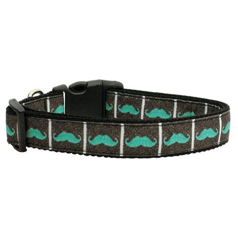 Aqua Mustache Adjustable Ribbon Nylon Collar