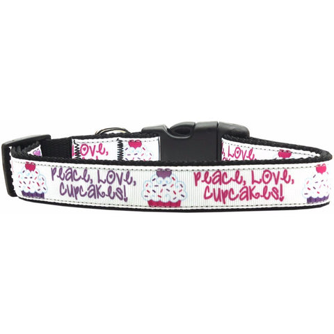 Peace Love Cupcakes Ribbon Nylon Collar