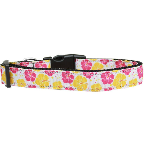 Pink & Yellow Hibiscus Flower Ribbon Nylon Collar