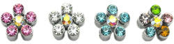 "3/8"" Bling Flower Sliding Charms 10mm"