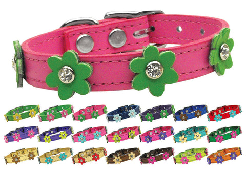 Flower Leather Crystal Jeweled Collar