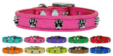 Metallic Paw Leather Collar