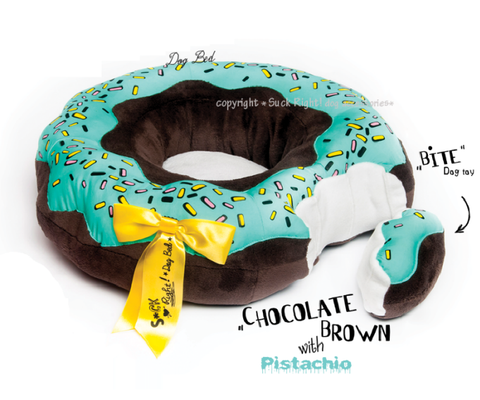 Dolore's Doughnut Dog Bed Chocolate Brown w/ pistachio glaze