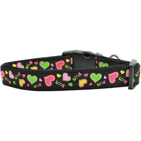 Neon Love Ribbon Nylon Collar