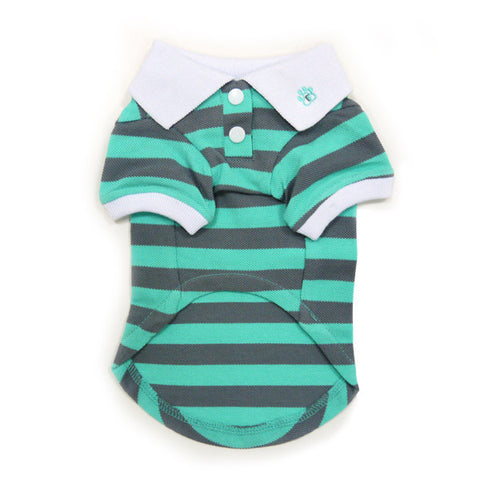 PP Stripe Gray & Green Polo