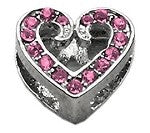 "3/8"" Scripty Bling Heart Sliding Charms 10mm"
