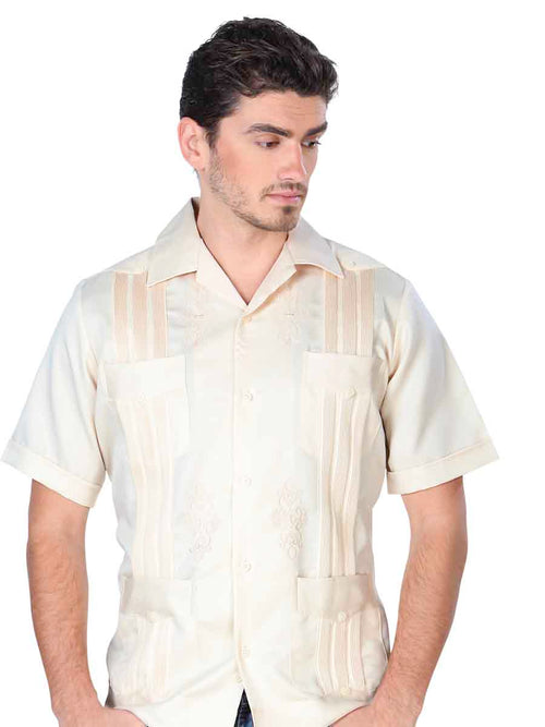 Guayabera Casual Shirt for Men, Polyester 'El General' - ID: 3717 BEIGE