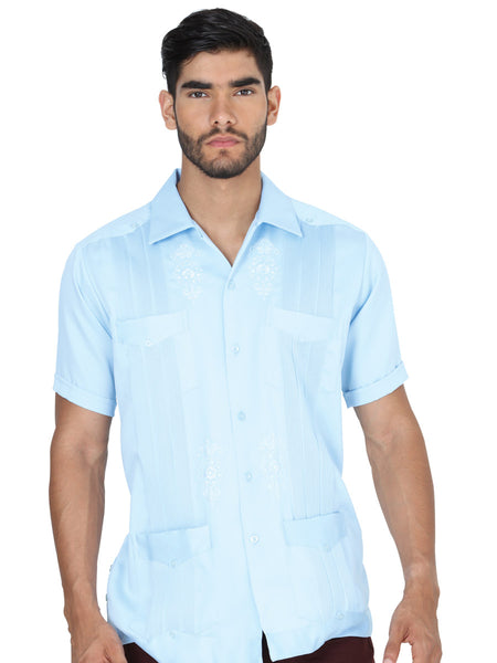 Guayabera Casual Shirt for Men, Polyester 'El General' - ID: 3720 AZUL CIELO